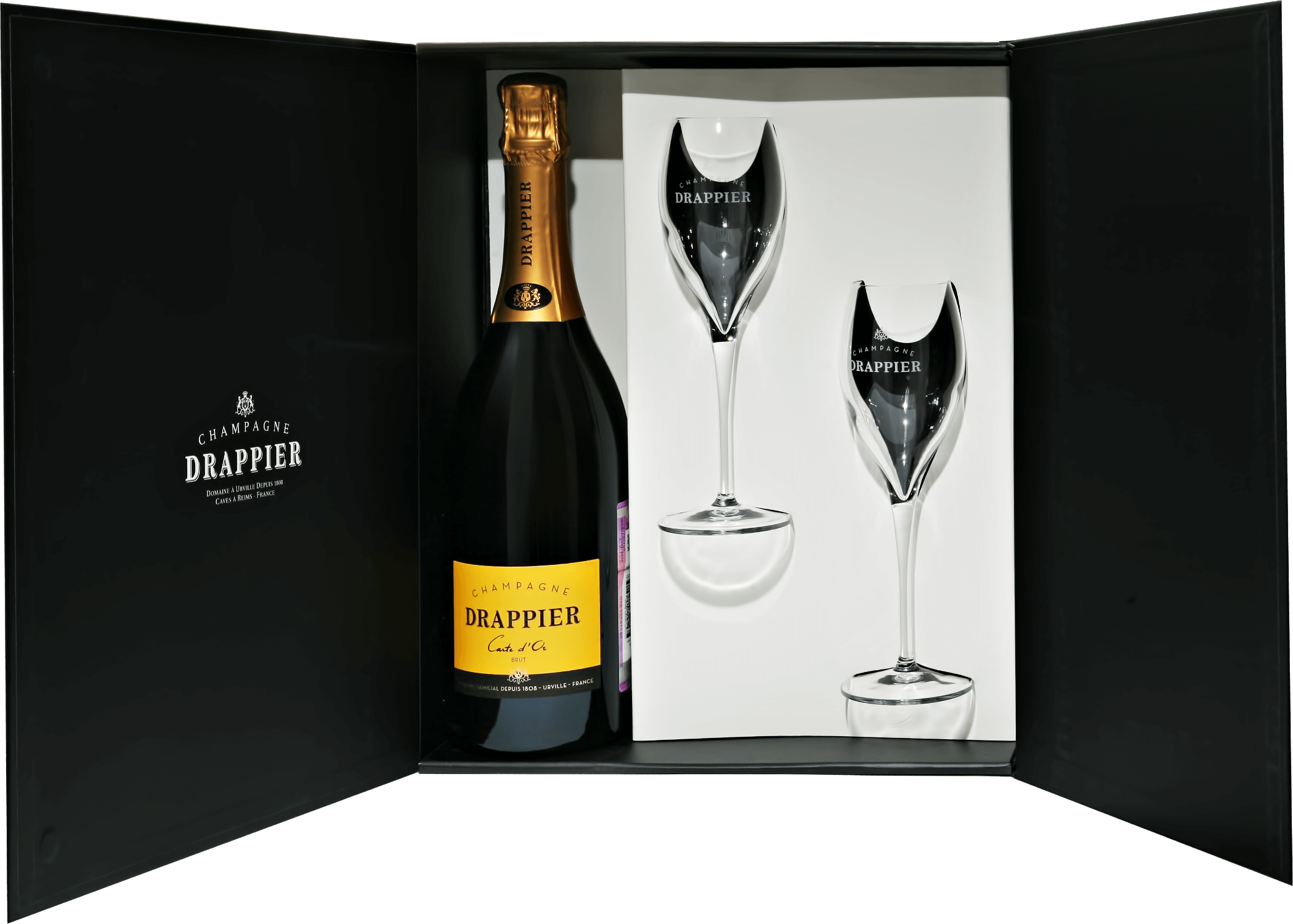 Игристое вино Drappier Carte d'Or Brut Champagne AOP in gift box with two glasses 0.75л